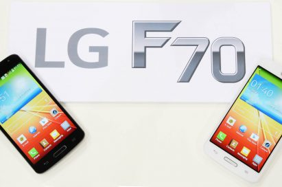LG F70s in black color and white color are lying on the panel with the logo of LG L90 on.