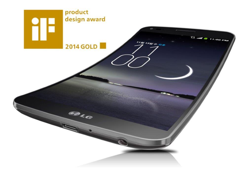 A side view of LG G Flex which was selected as one of the 75 Gold Award winners at the annual iF Design Awards.
