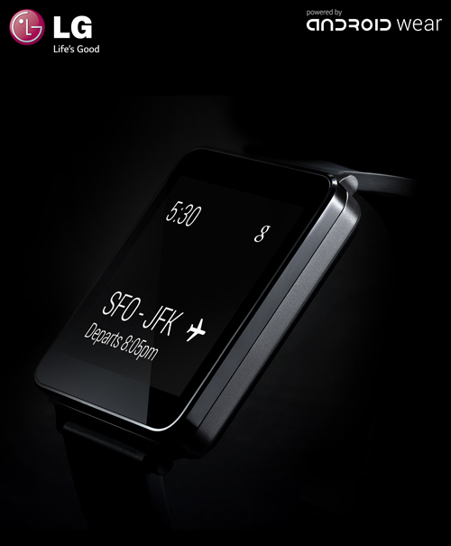 A side view of the Titan Black LG G Watch's display showing the user's flight departure details.