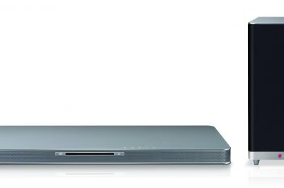 Front view of LG SoundPlate model LAB540 with a wireless subwoofer by its side