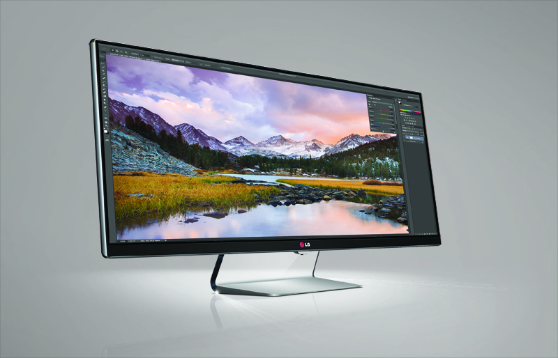 A side view of LG 21:9 UltraWide monitor.