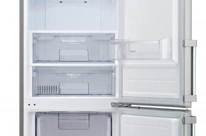 LG refrigerator with Inverter Linear Compressor with door open. It's empty.