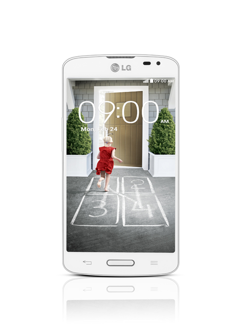 A front view of LG F70 in white color.