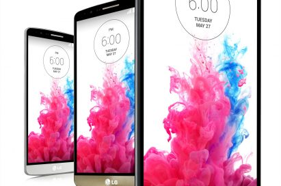 Front views of three LG G3s in Silk White, Shine Gold and Metallic Black colors.
