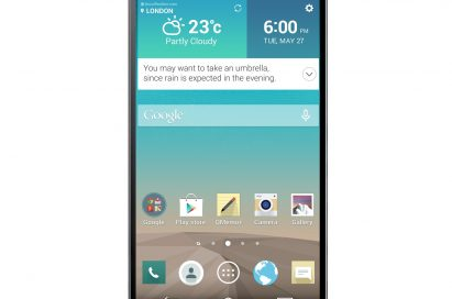 A front view of LG G3 showing its wallpaper.