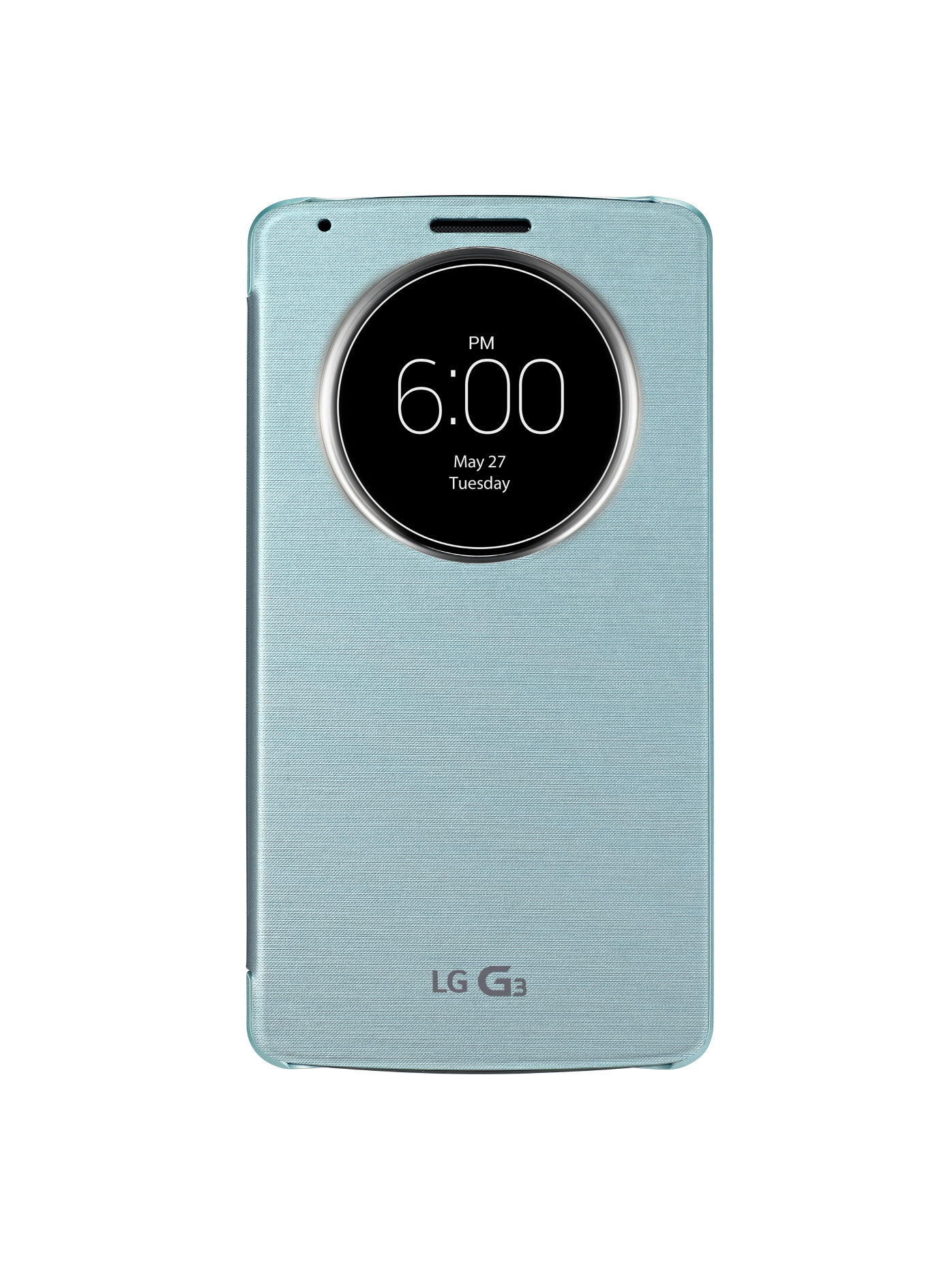A front view of LG G3 wearing QuickCircleTM case in Aqua Mint color.