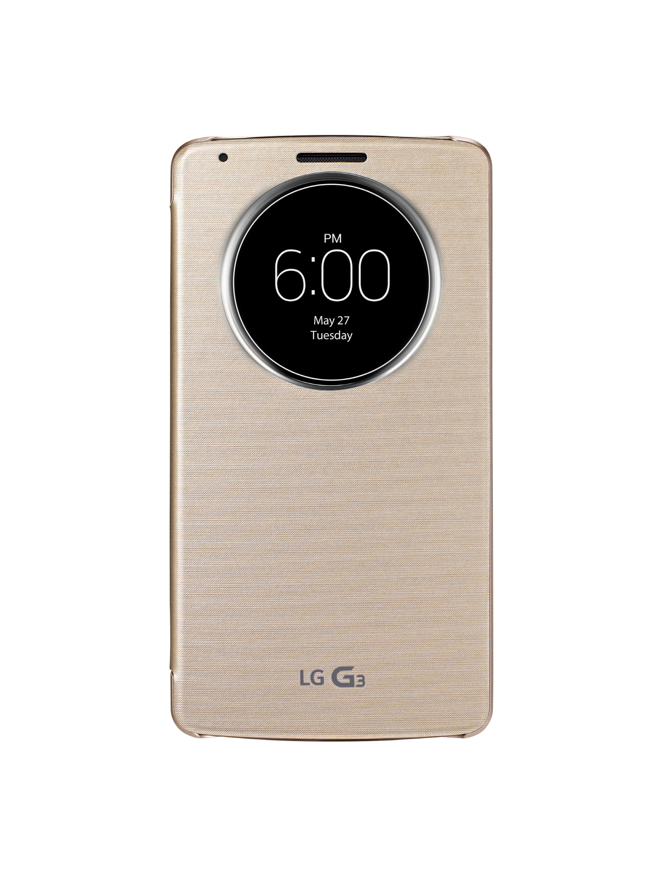 A front view of LG G3 wearing QuickCircleTM case in Shine Gold color.