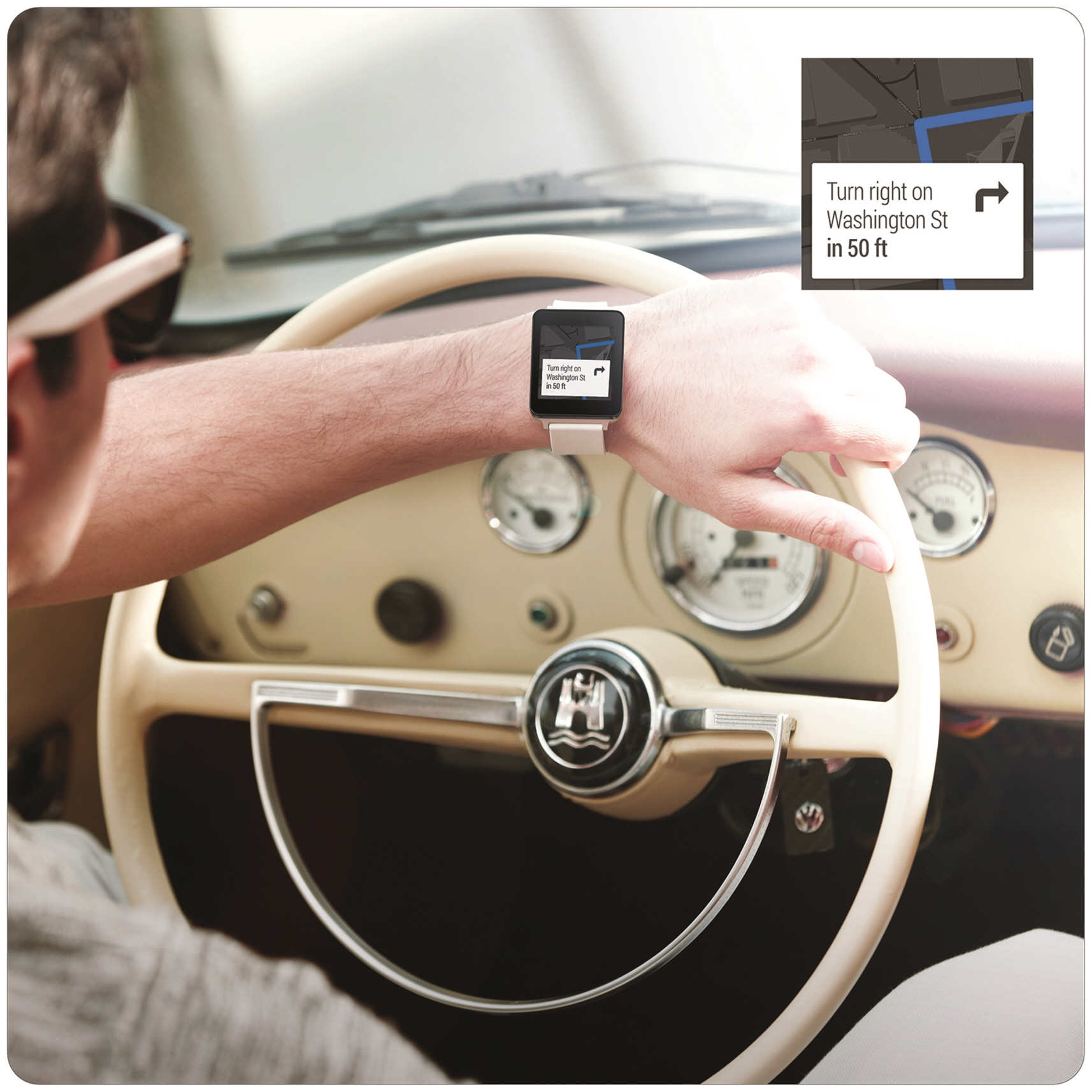 A man wearing the LG G Watch in White Gold while driving, with a small screenshot of the watch's display showing directions.