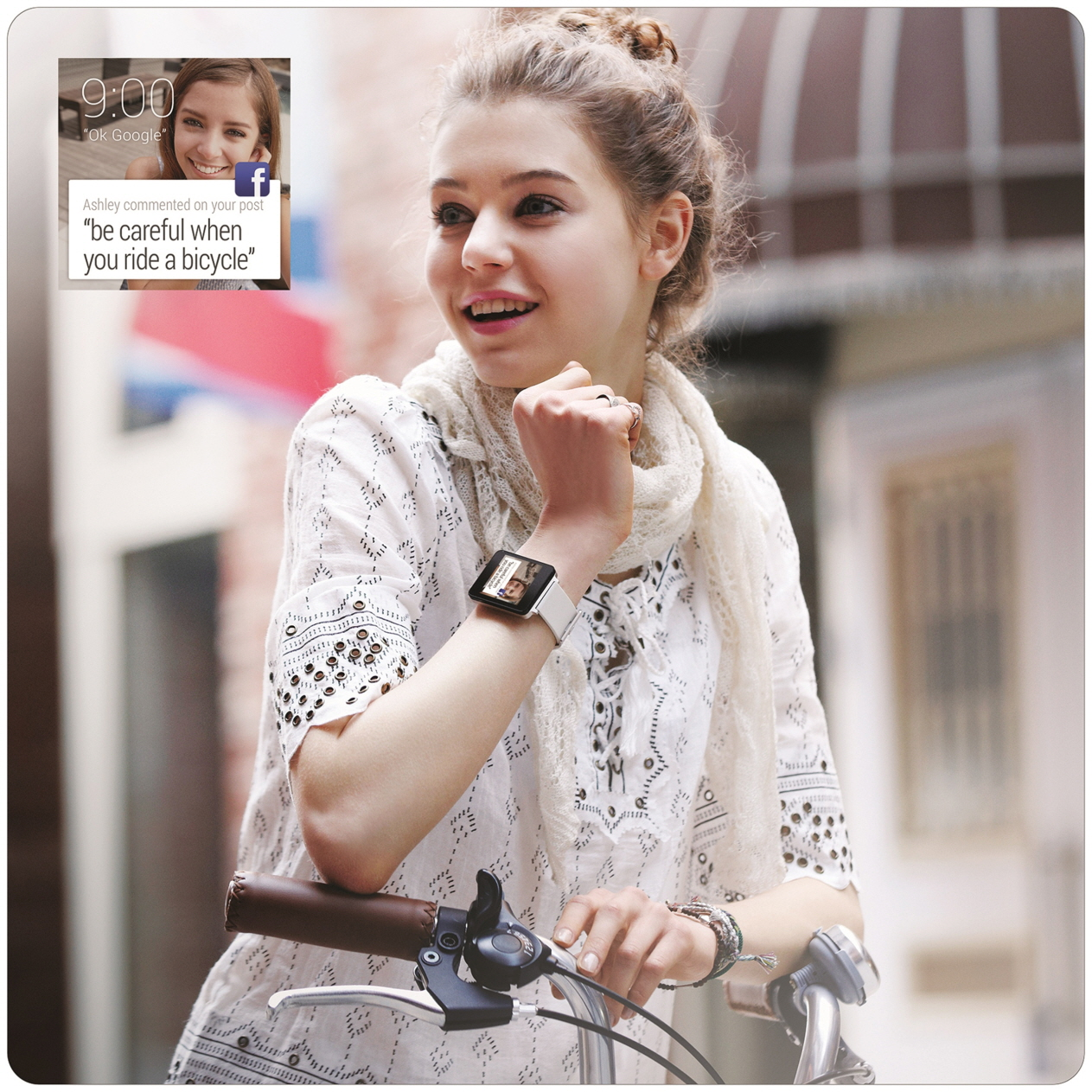 """A woman wearing the LG G Watch in White Gold rides her bicycle, with a screenshot of the watch's displaying Facebook comments such as, """"be careful when you ride a bicycle."""""""