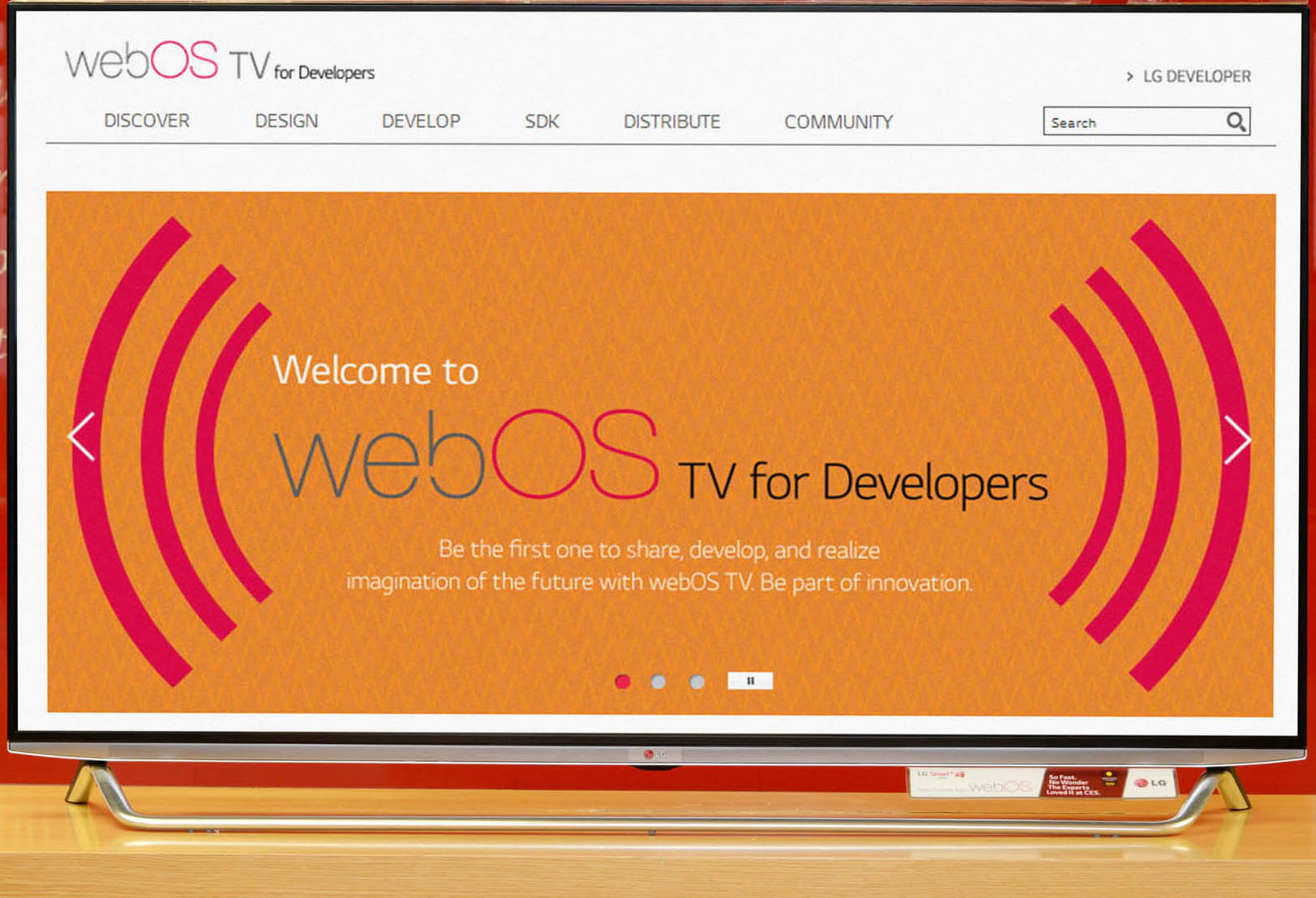 webOS for Developers displayed on LG's Smart TV