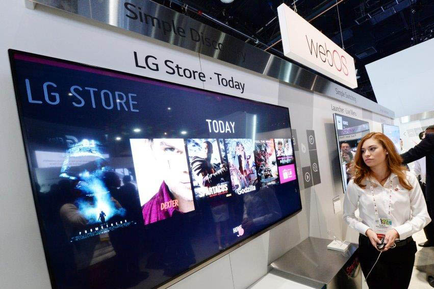 LG Store run by webOS is displayed on one of LG's TV screens