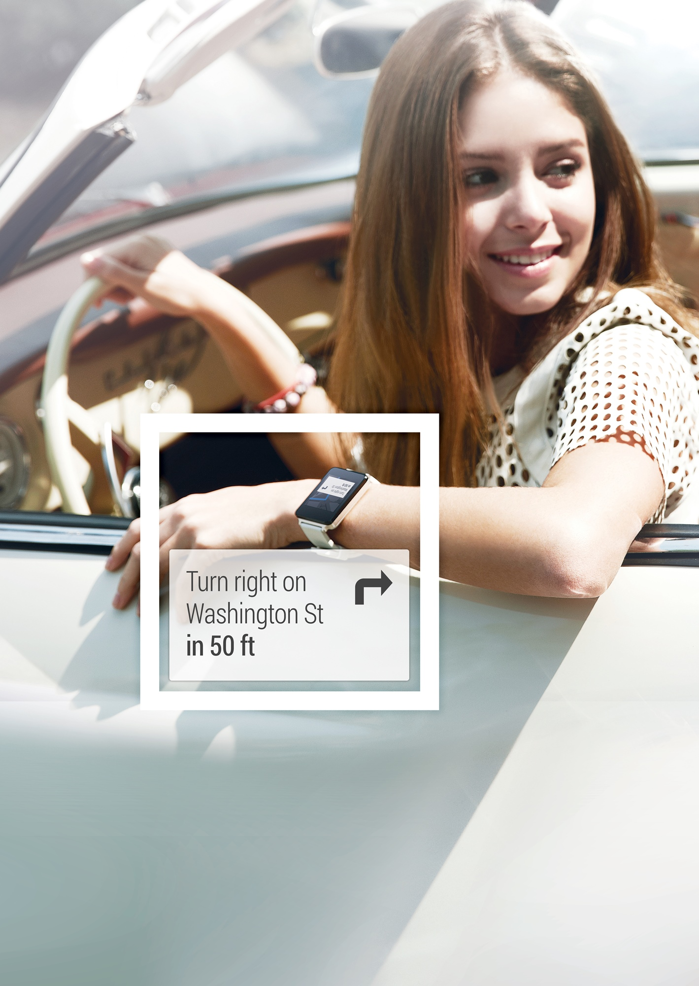 """A poster of a woman driving her car while her LG watch directs her to """"Turn right on Washington St in 50 ft."""""""