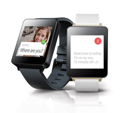 A front and side view of the LG G Watch in Titan Black and White showing the user replying to a text message with the watch's text feature.