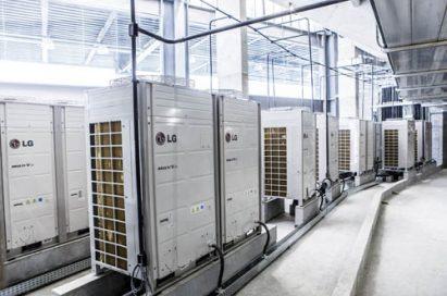 The outdoor units of LG's high energy-efficient Variable Refrigerant Flow (VRF) system, the Multi V in the Estádio Joaquim Américo Guimarães (Arena da Baixada.)