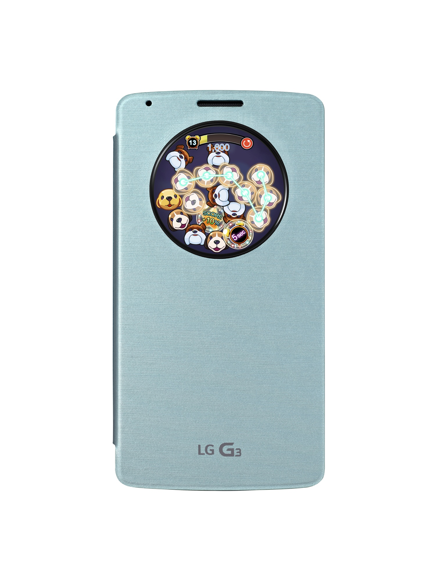 A front view of the G3 with QuickCircleTM Case in Aqua Mint color showing the screen of a game through the open window.