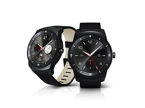 A side view and the front view of LG G Watch Rs