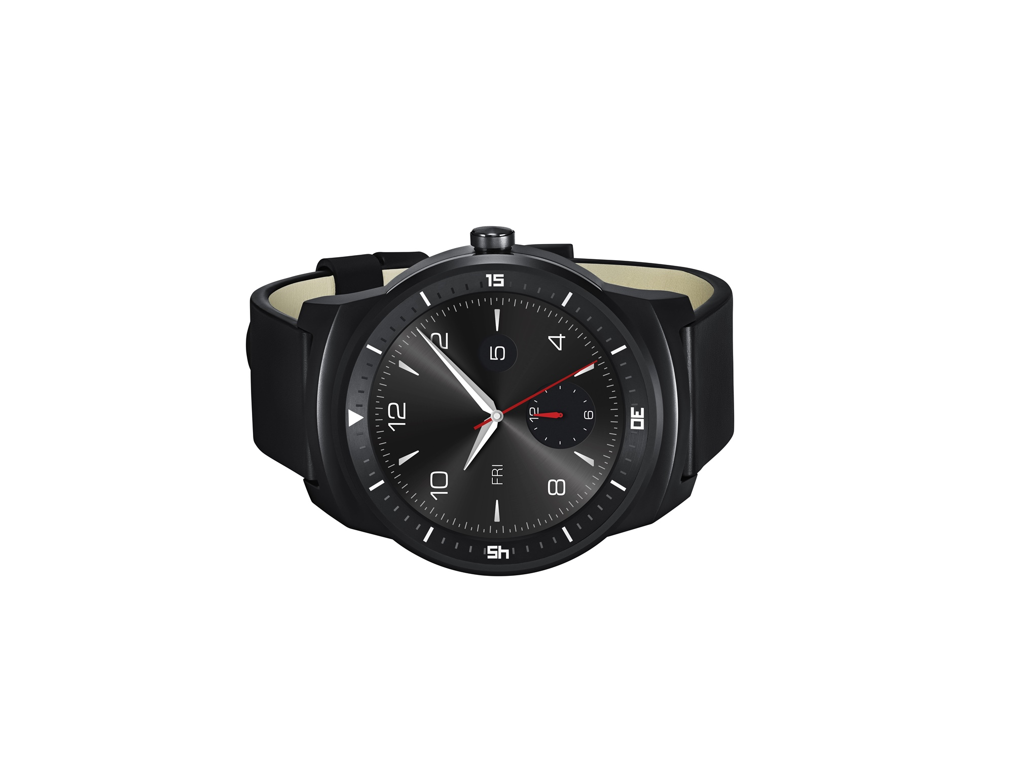 A front view of a LG G Watch R lying on its side.