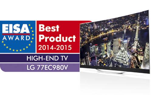 LG's 77-inch 4K OLED TV (model 77EC980V) was recognized as the winner of EISA's European High-End TV 2014-2015 award.