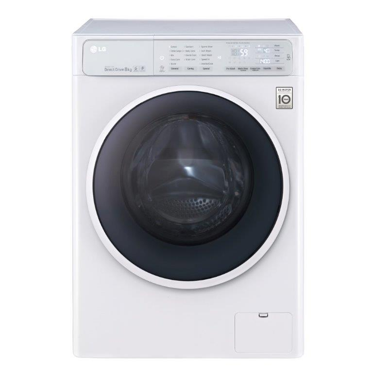 A front view of LG's front-load washing machine equipped with the company's revolutionary TurboWash™ technology and 6 Motion Direct Drive (Series S),