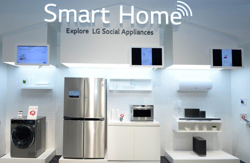 A front view of the Smart Home display at LG's Booth at IFA 2014.