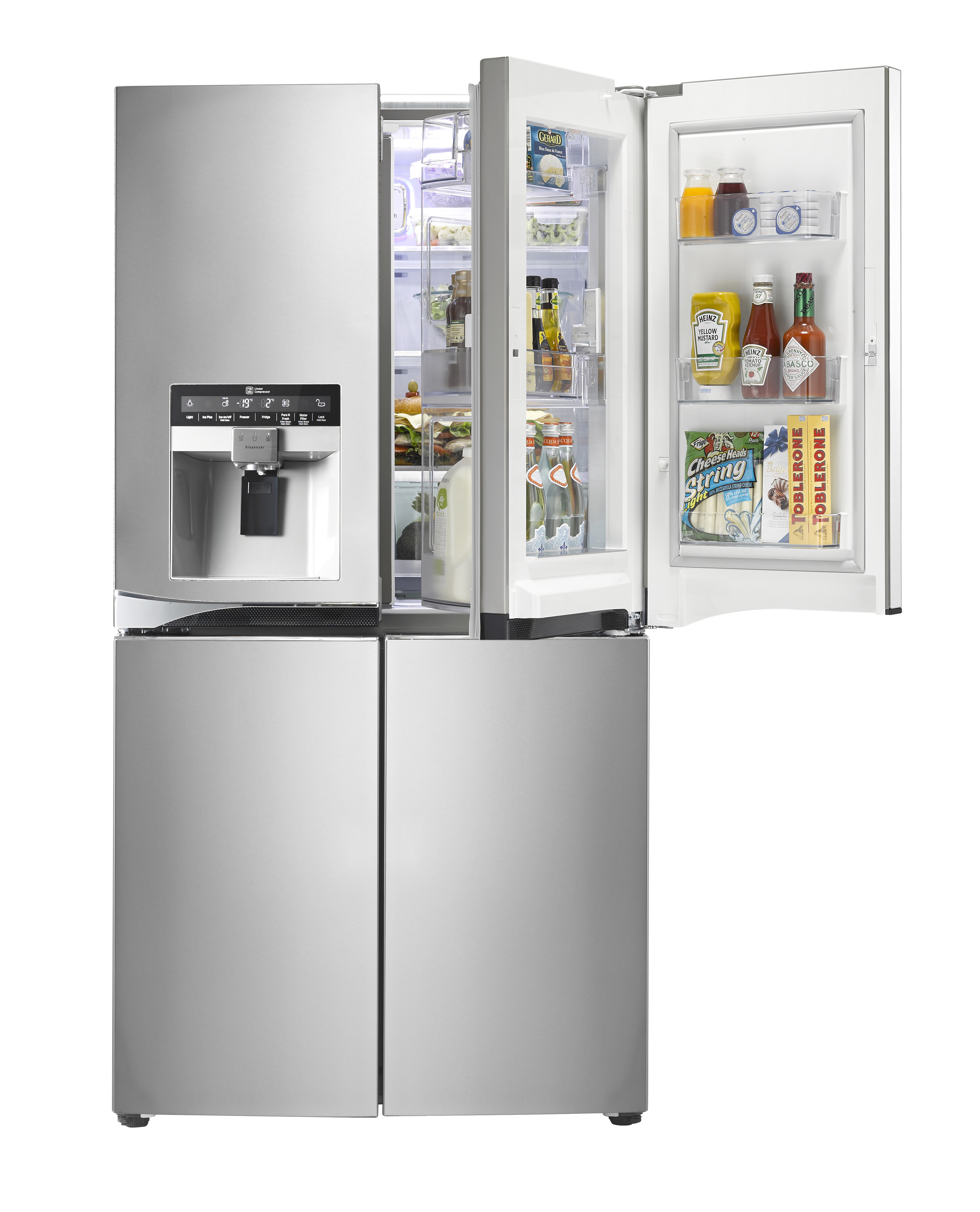 LG Multi-Door refrigerator with its upper-right door including Door-in-Door part open. The refrigerator is filled up with various food such as sauces and snacks.