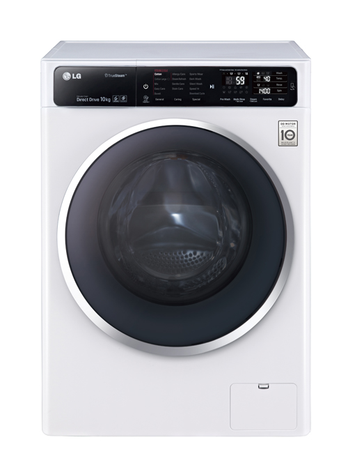 Front view of LG front-load washing machine (F14U1JBS2) in white