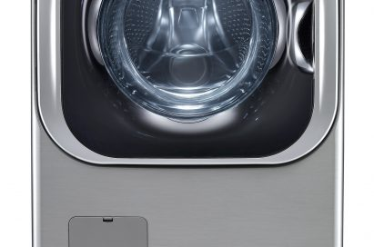 Front view of LG front-load washing machine (WM8000) with a pedestal
