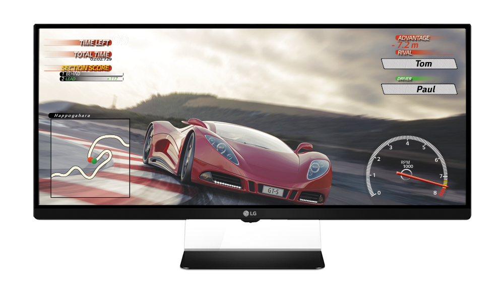 A front view of LG's 34-inch UltraWide Gaming Monitor 34UM67