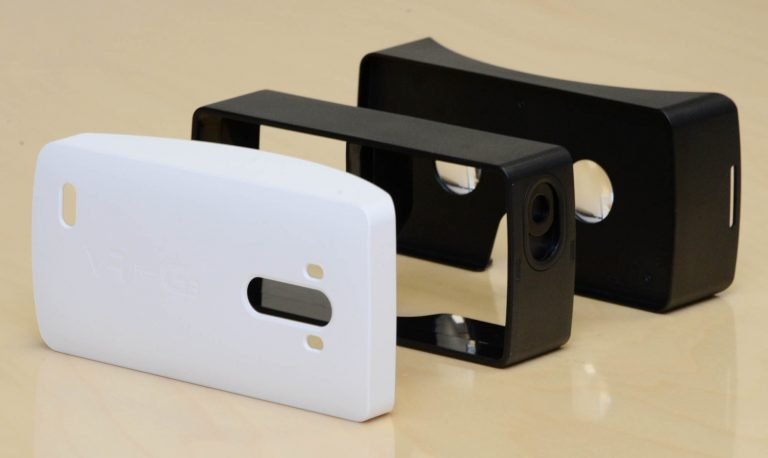 A side view of the components of the VR headset for G3.