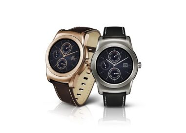 Two LG Watch Urbanes in gold and silver colors.