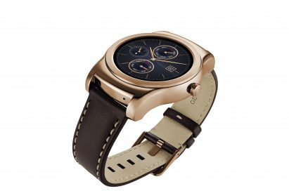 A side view of LG Watch Urbane in gold color.