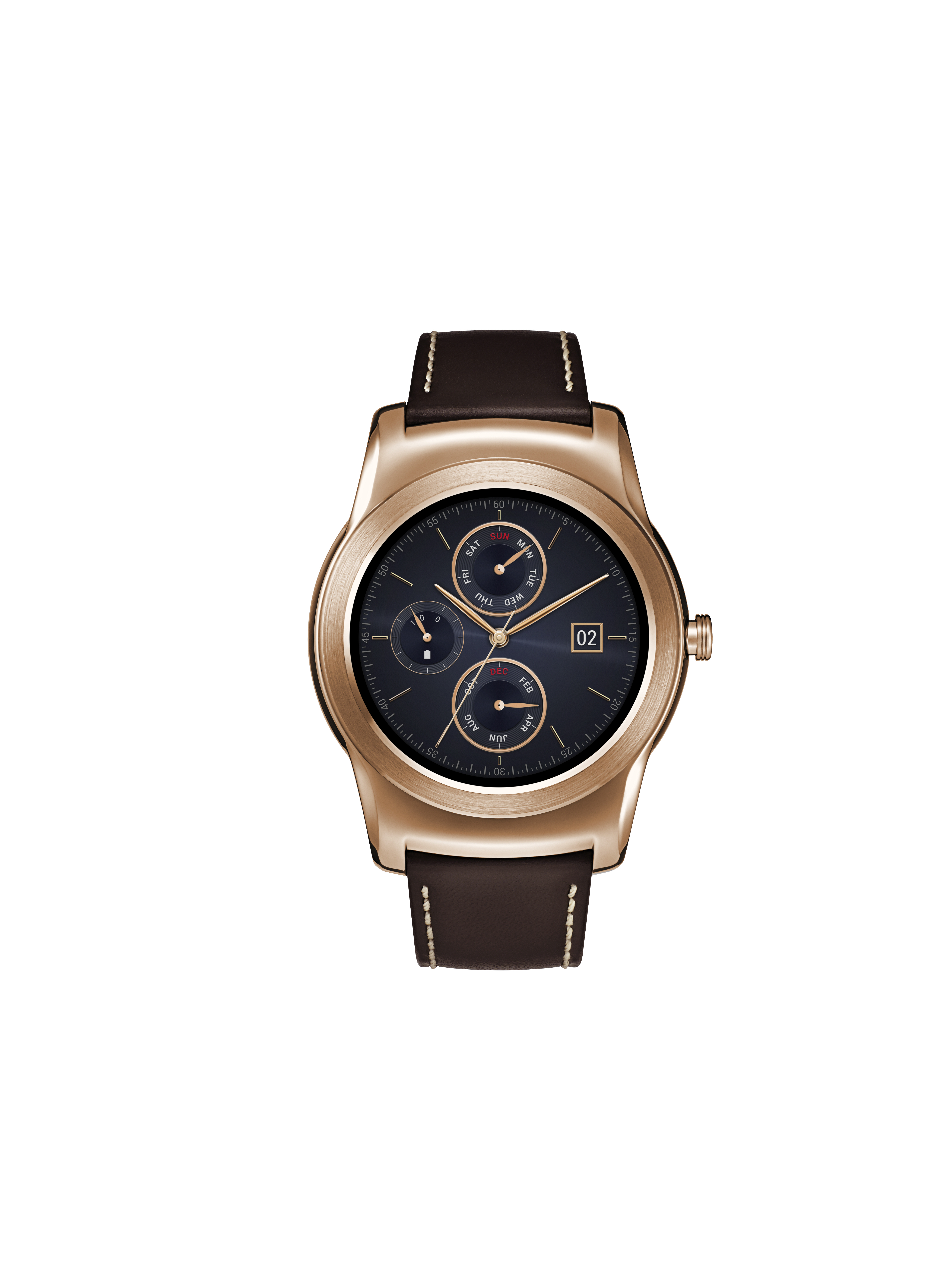 A front view of LG Watch Urbane in gold color.