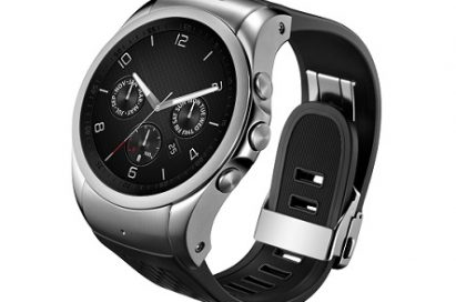Front view of LG Watch Urban LTE in silver with its dial looking above to the left