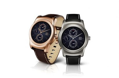 Two LG Watch Urbanes, each in gold and silver color design
