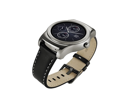 LG Watch Urbanes in silver color with the dial looking upwards
