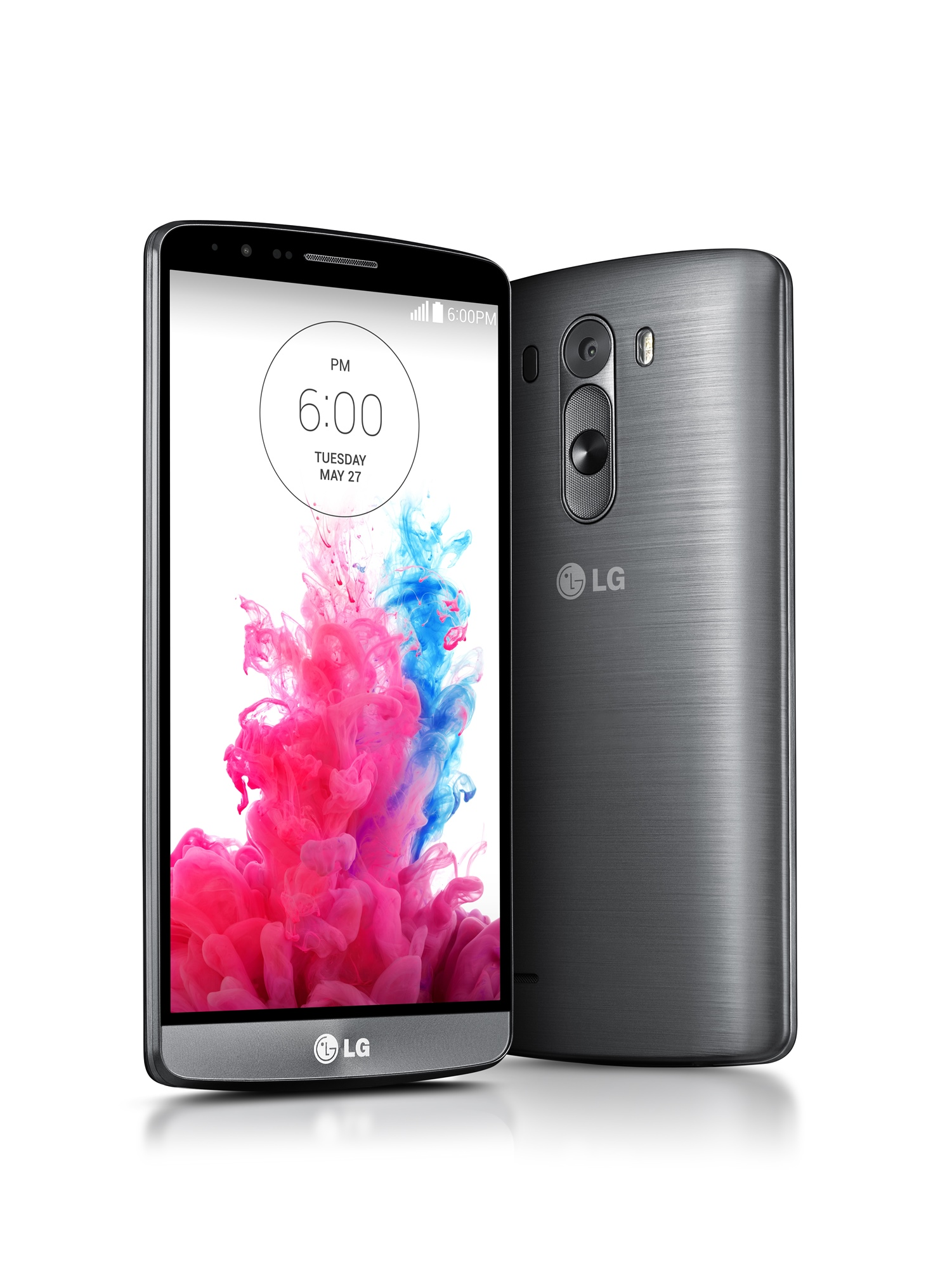 A front view and a back view of LG G3.