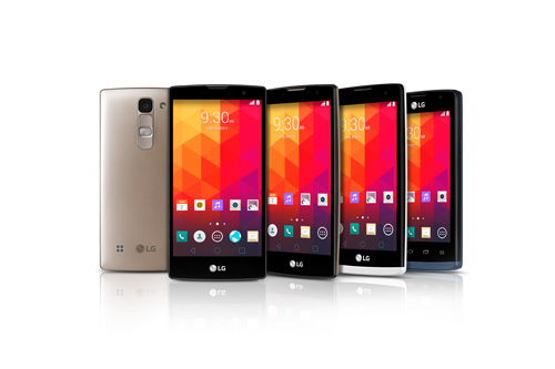 From left to right; A back view of one of the new mid-range smartphones and fronts of Magna, Spirit, Leon, Joy