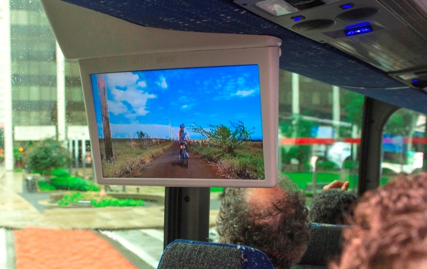 Experts watch videos on a bus via ATSC 3.0 signals