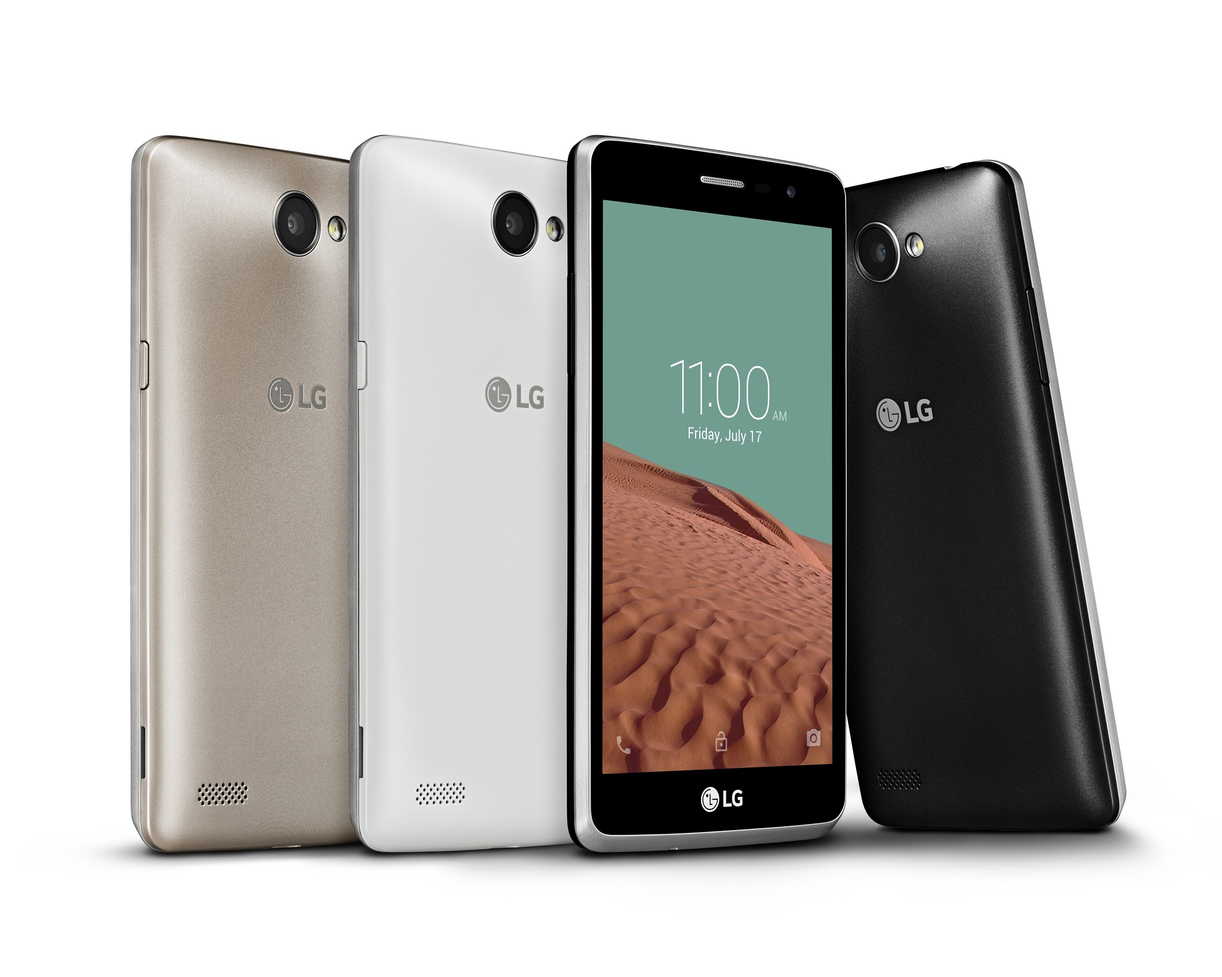 From left to right; back views of LG Bello IIs each in gold color and white color, a front view of LG Bello II in black color and a back view of LG Bello II.