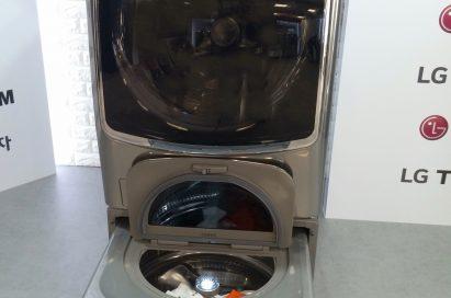 LG TWINWash™ washing machine with its Mini washer's door opened