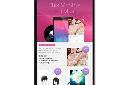 LG G3's display showing 'This Month's Hi-Fi Music' via the LG SmartWorld app, a high-fidelity(Hi-Fi) music service for customers of LG premium smartphones.