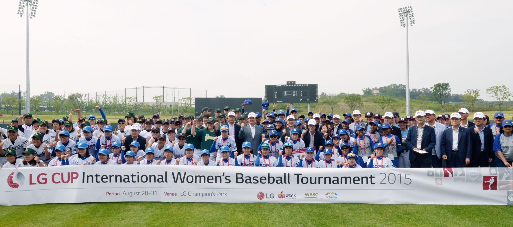 The eight teams represented in the tournament takes a commemorative picture.