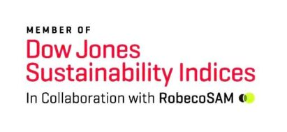 Logo of the annual Dow Jones Sustainability Indices (DJSI), in collaboration with RobecoSAM.