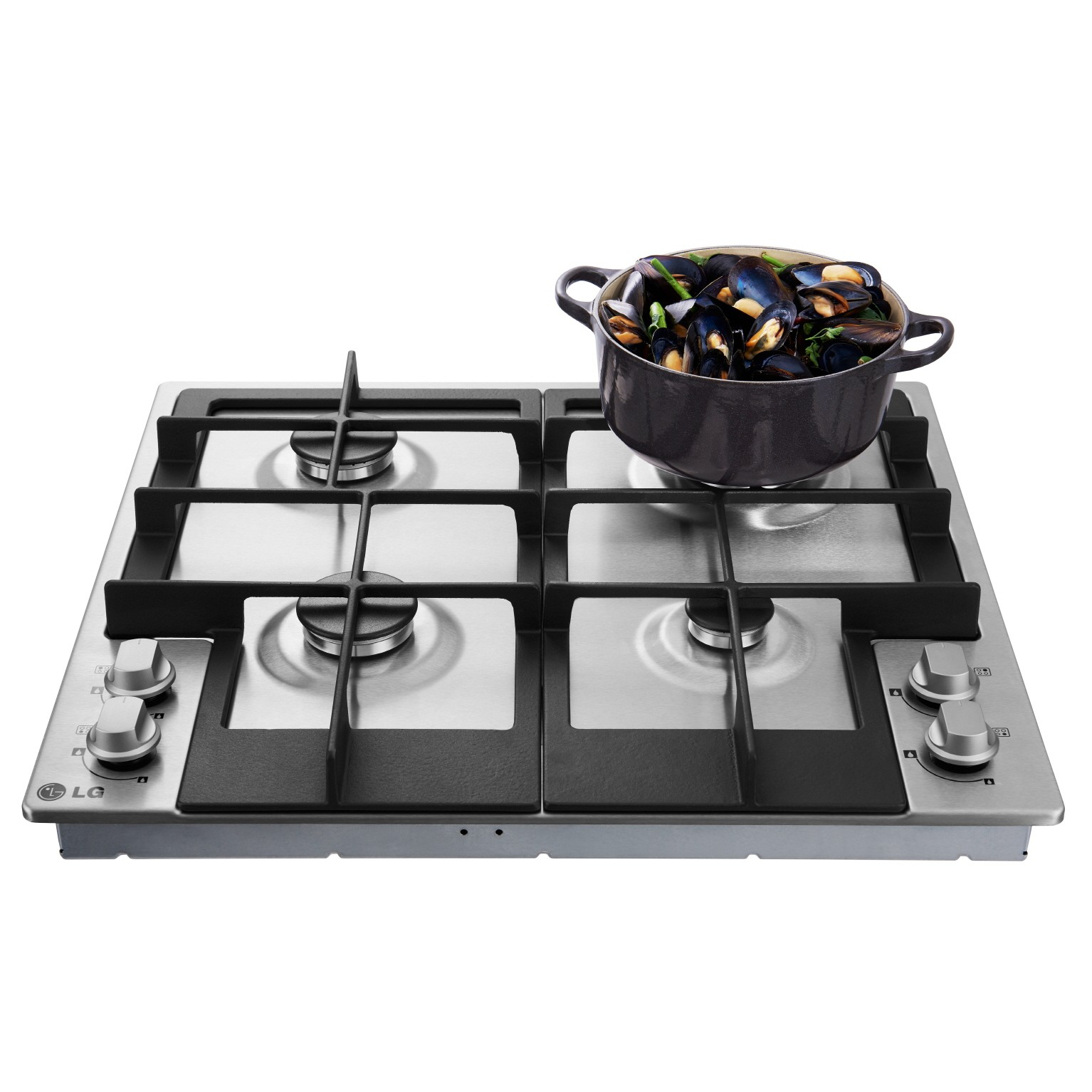 LG Studio gas cooktop with a cooking pot on the right upper section