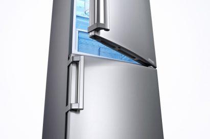LG bottom-freezer refrigerator with its refrigerator's door slightly opened