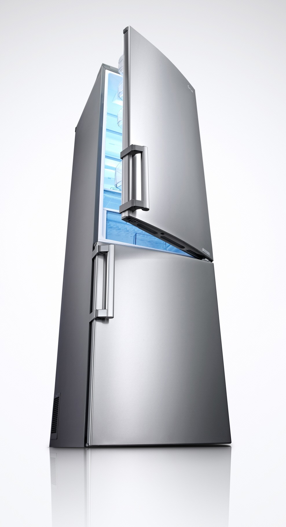 LG bottom-freezer refrigerator with its refrigerator's door slightly opened