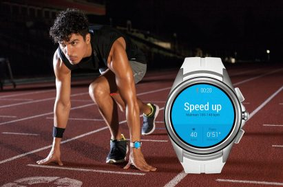 A man at a track start line with the LG Watch Urbane 2nd Edition on his wrist, with an enlarged image of the LG Watch Urbane 2nd Edition on the right showing a fitness app