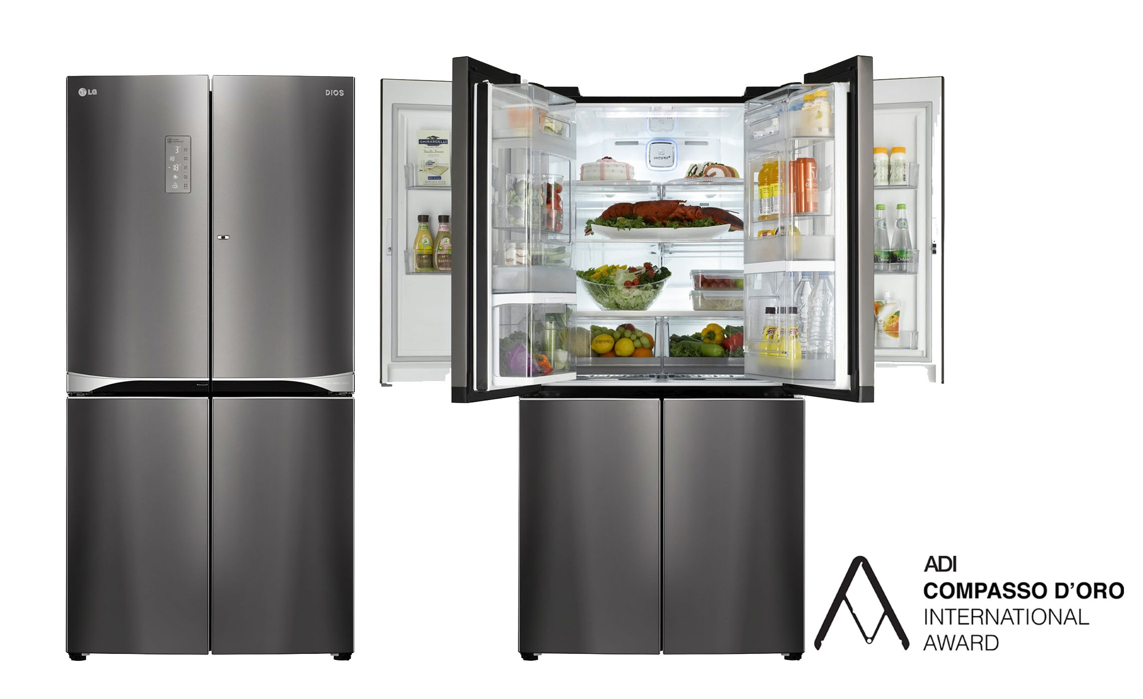 Two LG double Door-in-Door refrigerators with Compasso d'Oro International Award logo. Left one is closed and right one's upper parts are opened.