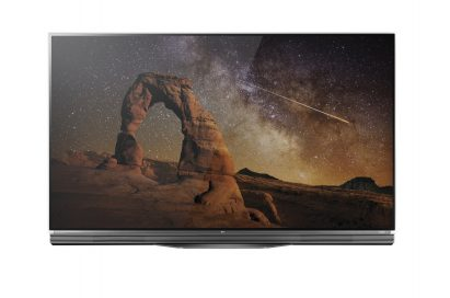 Front view of LG's flagship 4K HDR-enabled OLED TV model E6