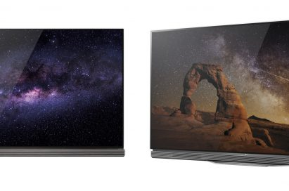 Front view of LG's flagship 4K HDR-enabled OLED TV model E6 next to the LG G6